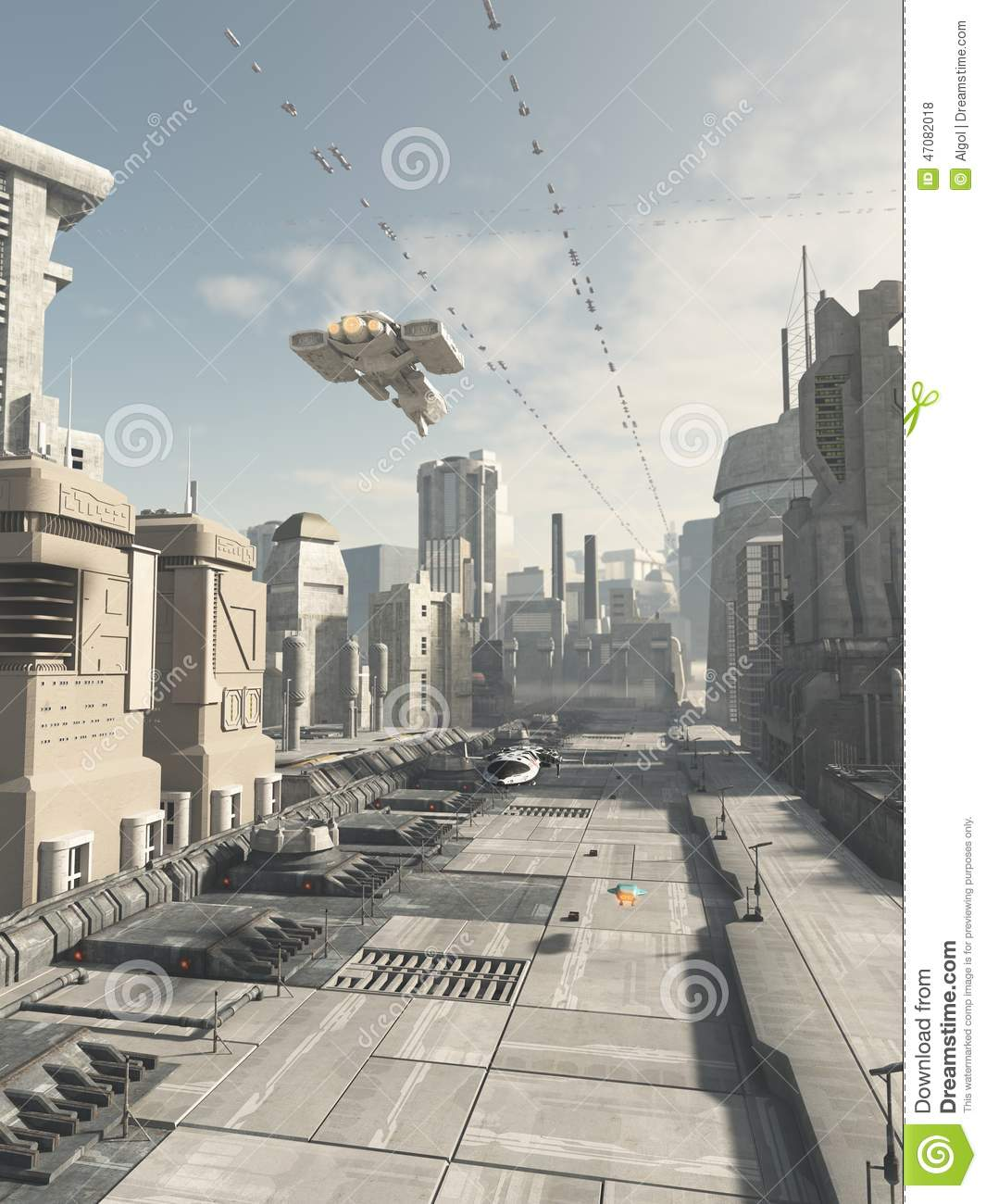 Science fiction illustration of a future city street with aerial ...