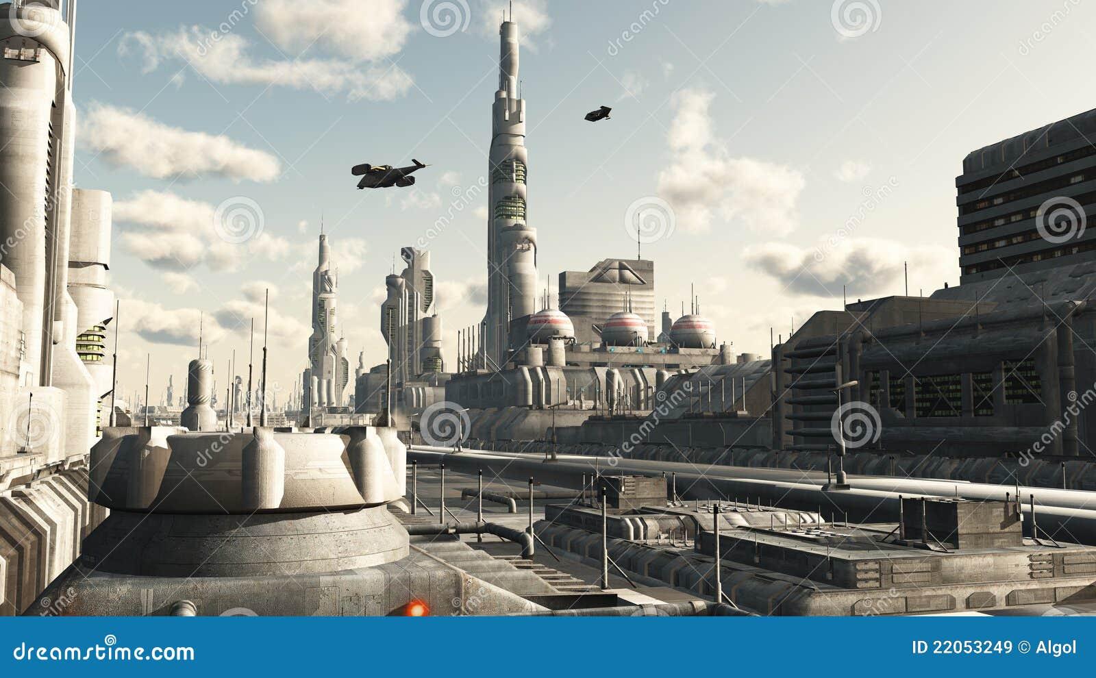 Future City Street View stock illustration  Illustration of