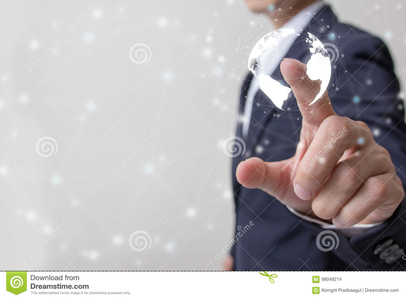 Future of financial business concept,Businessman touching increasing graph with finance symbols.