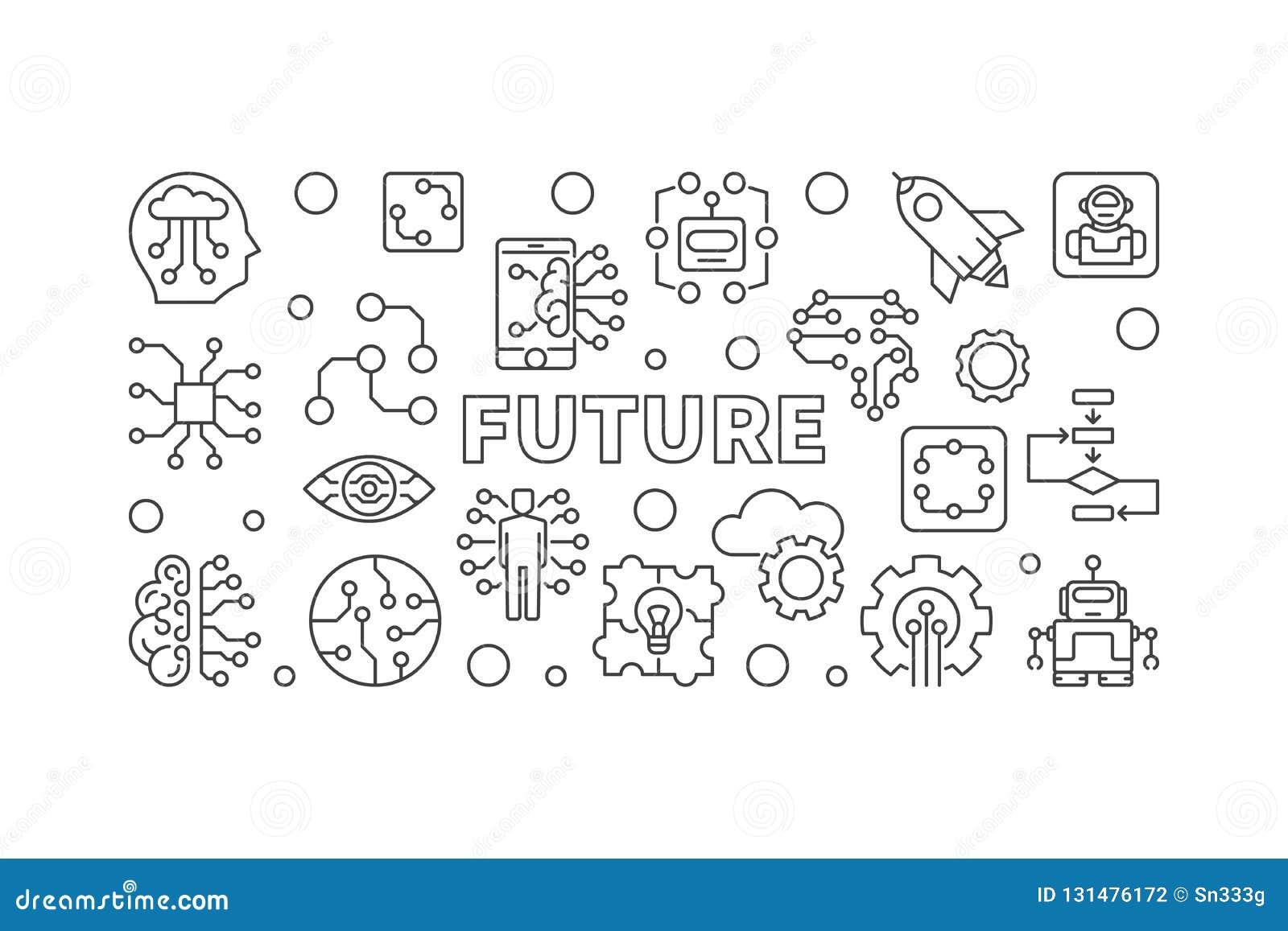 Future illustration de vecteur dans la ligne style mince Bannière d AI
