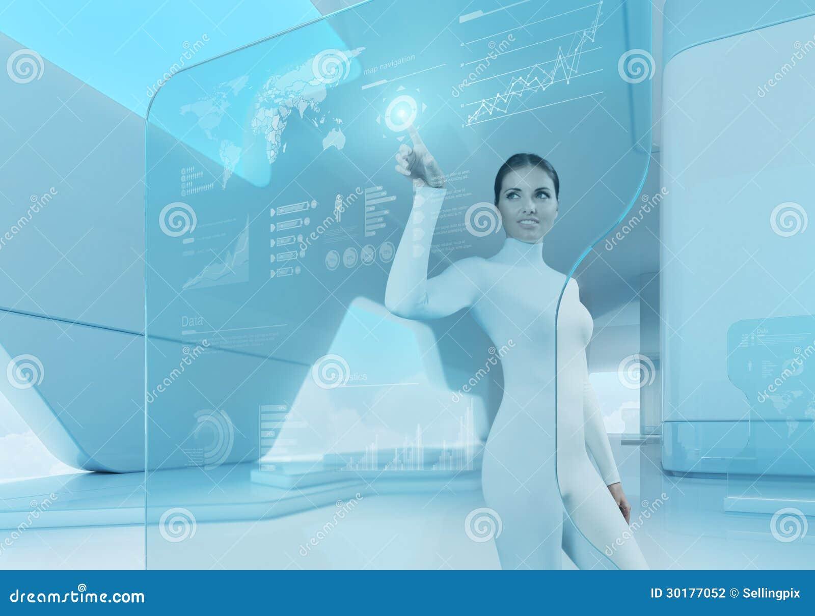 Future technologie. Interface d écran tactile de bouton-poussoir de fille.