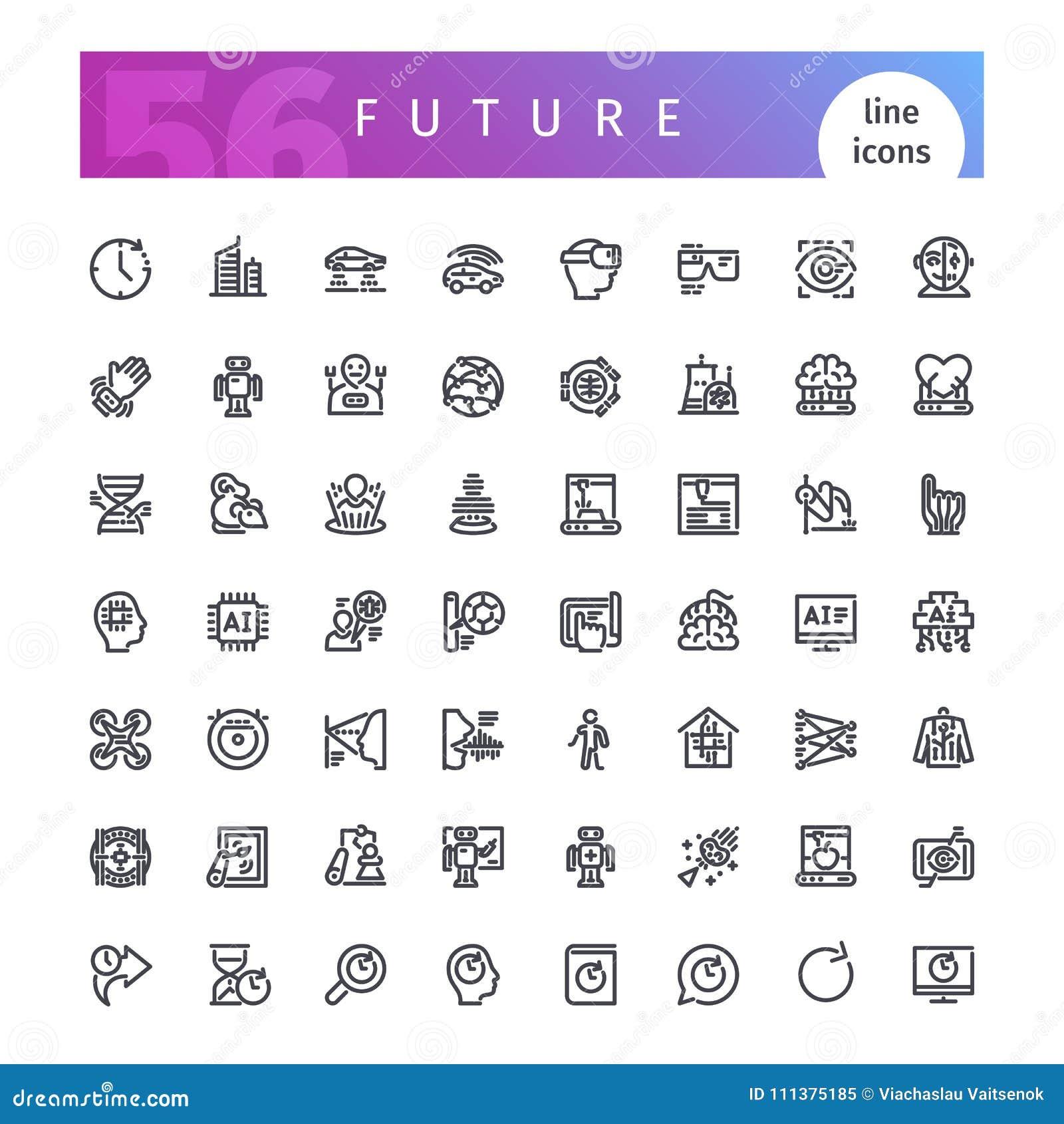 Future ligne icônes réglées