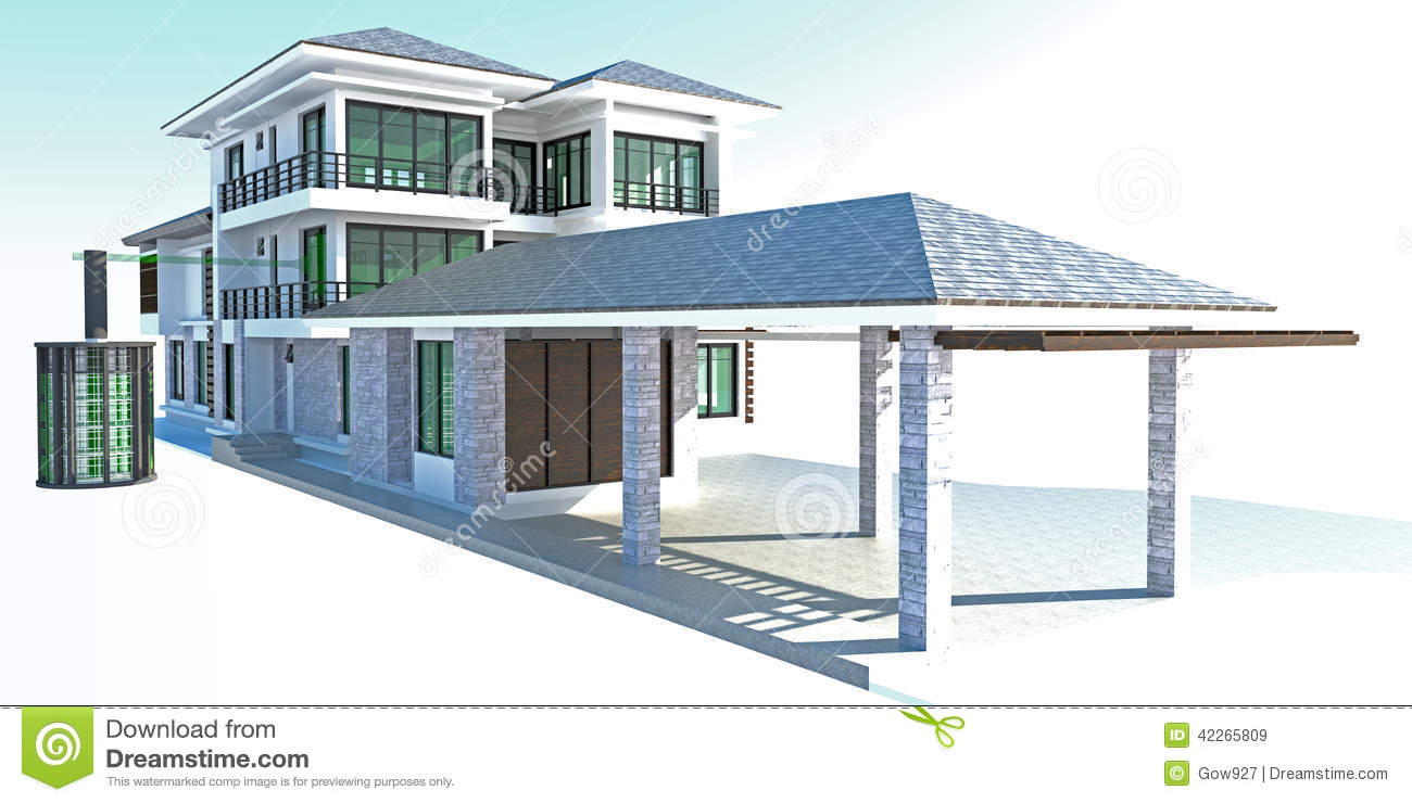 Future Residential House With Huge Outer Battery Energy