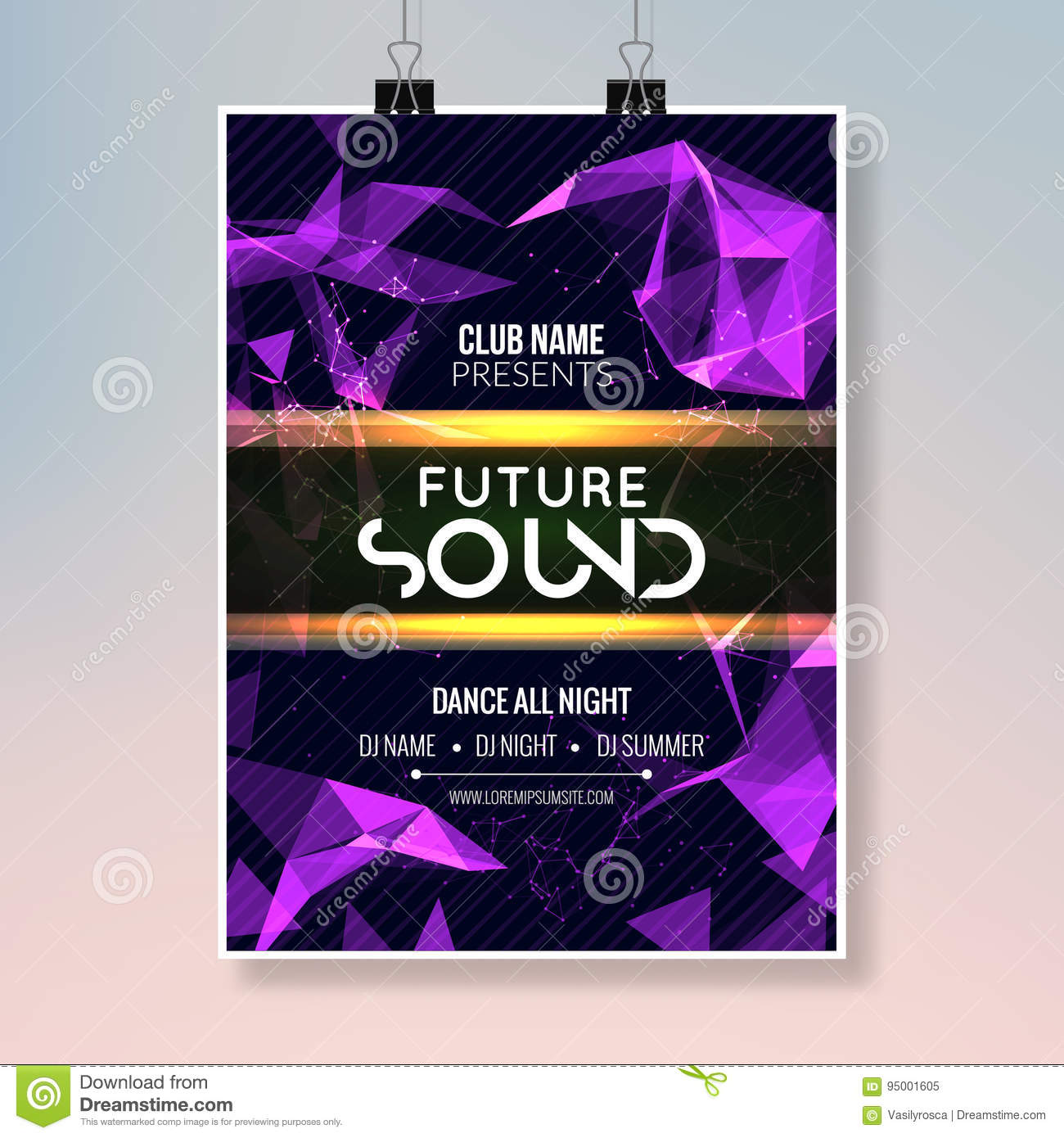 Future Sound Music Party Template Dance Party Flyer Brochure Party Club Creative Banner Or Poster For Dj Stock Illustration Illustration Of Festival Background 95001605