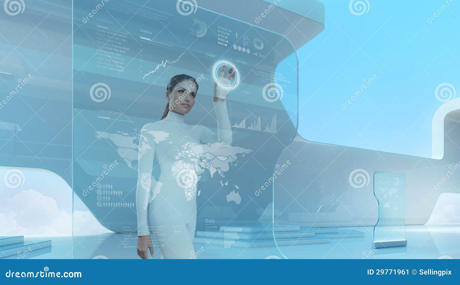 future technology touchscreen interface stock image