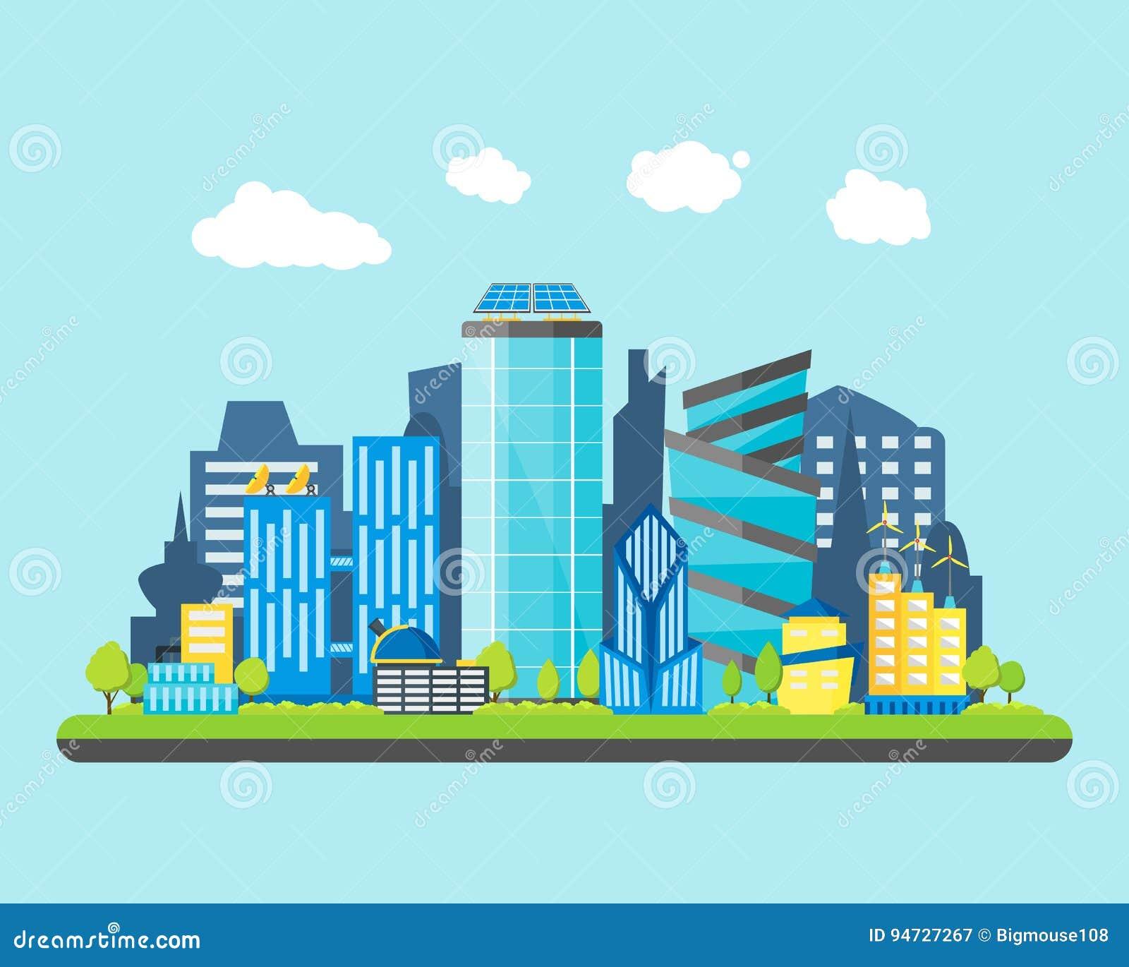 Future ville de bande dessinée sur un fond de paysage Vecteur