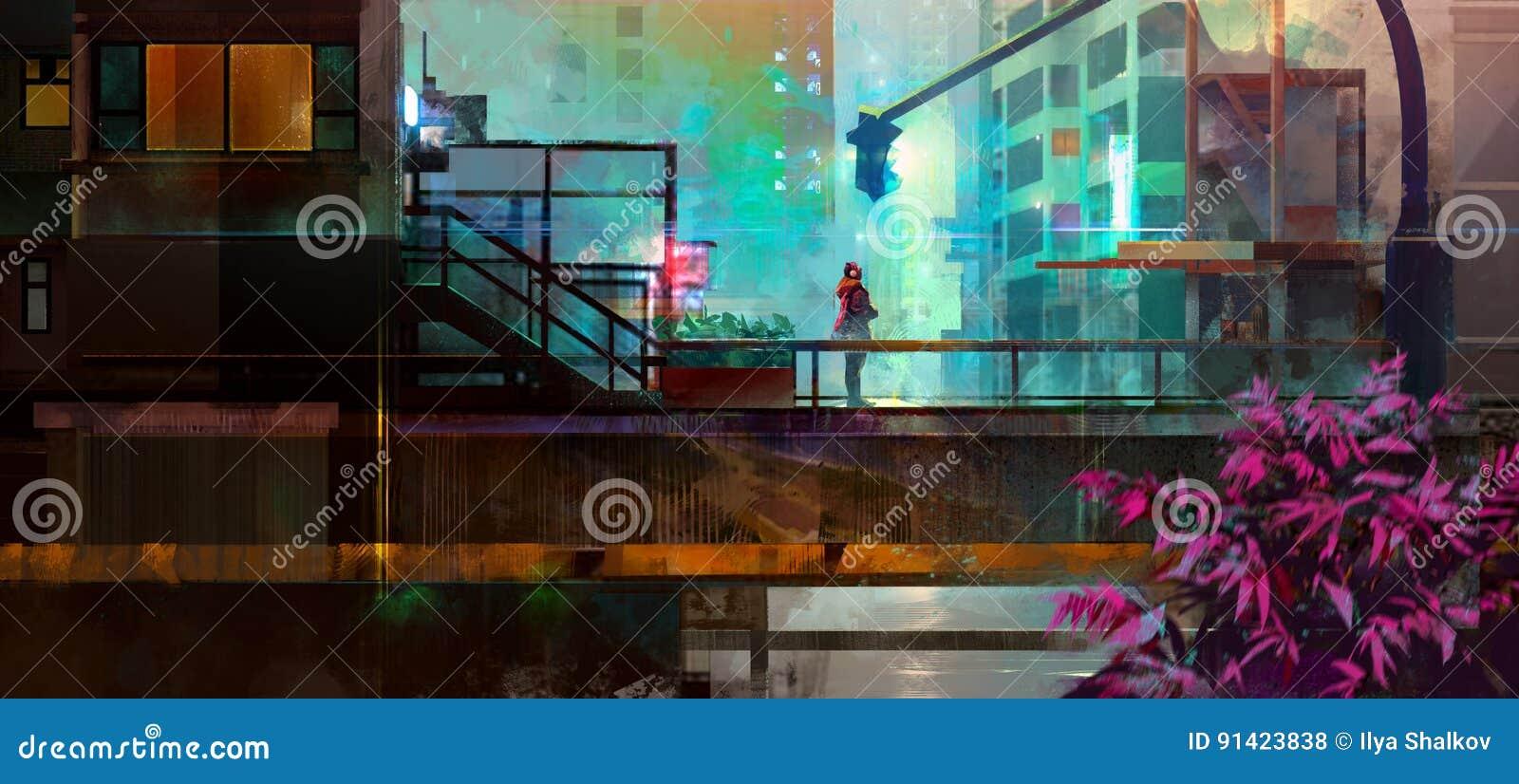 Future ville urbaine peinte avec un homme