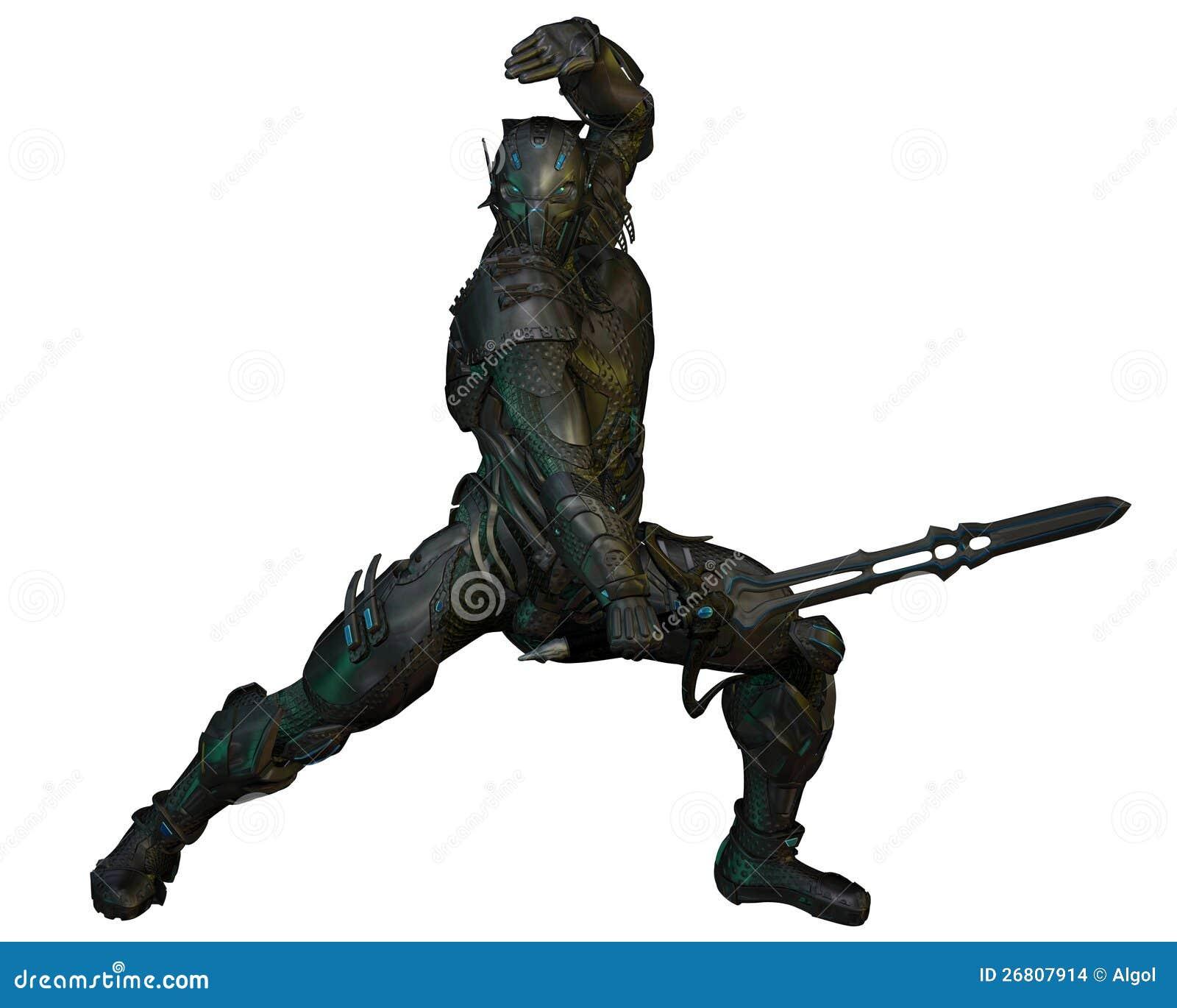 Futuristic armoured warrior knight with power sword, 3d digitally ...