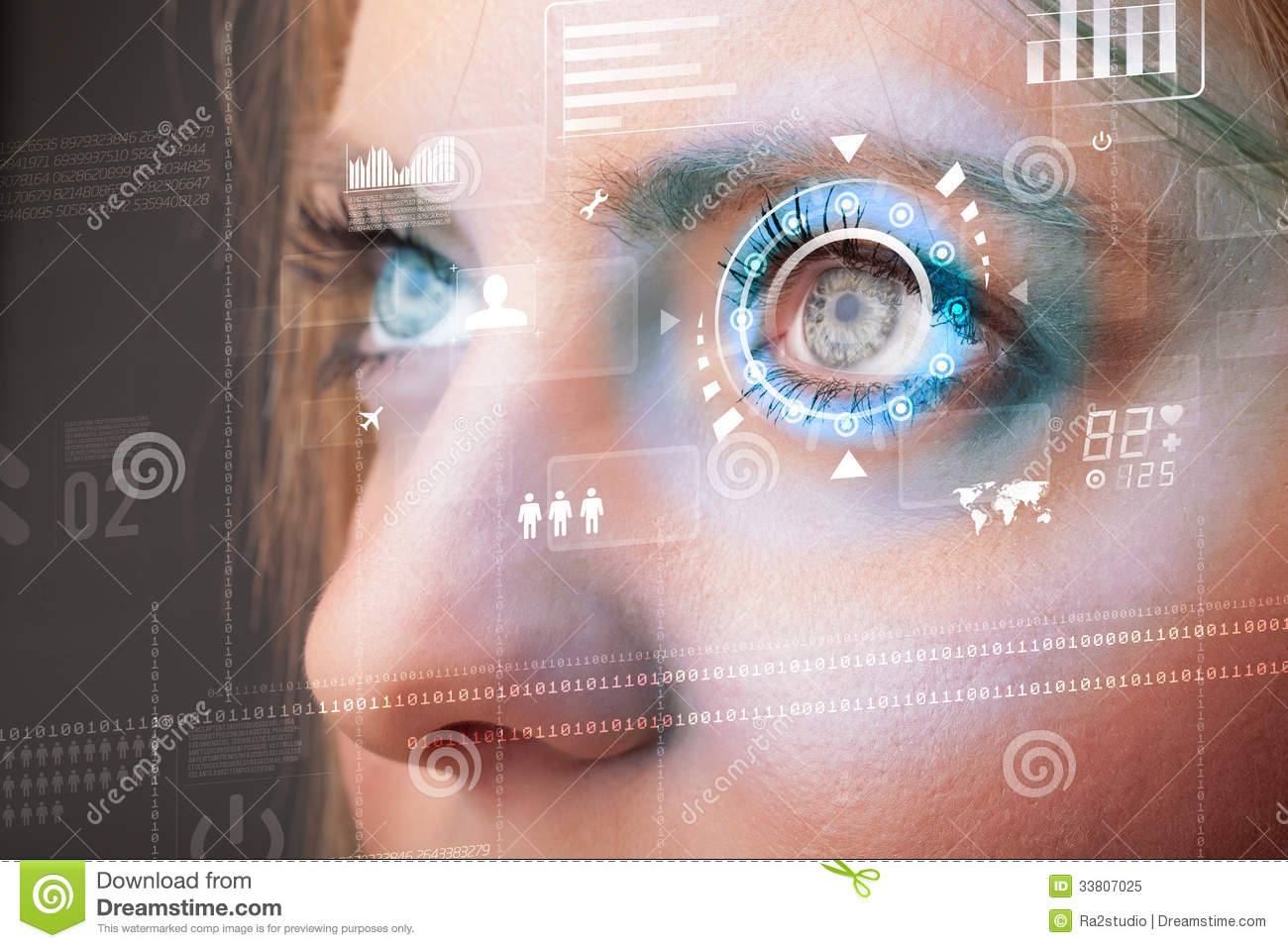 Future woman with cyber technology eye panel