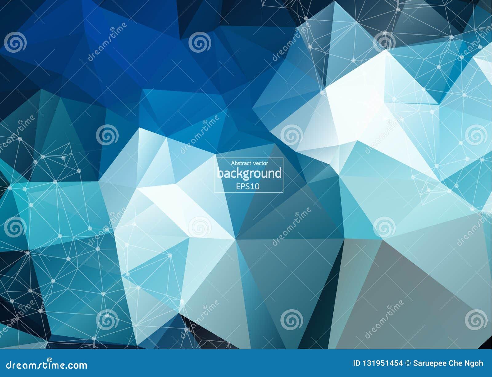 Futurista abstracto - la tecnología de las moléculas con el modelo linear y poligonal forma en fondo azul marino