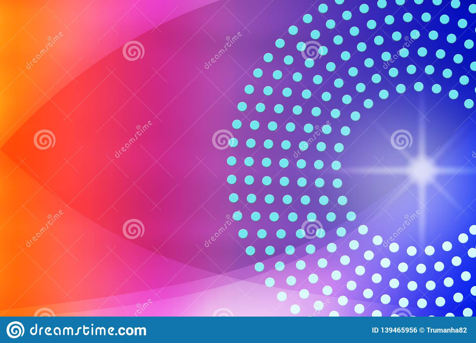 Shiny Sparkle, Circles, Dots and Curves in Blurred Blue, Purple, Pink and Red Background