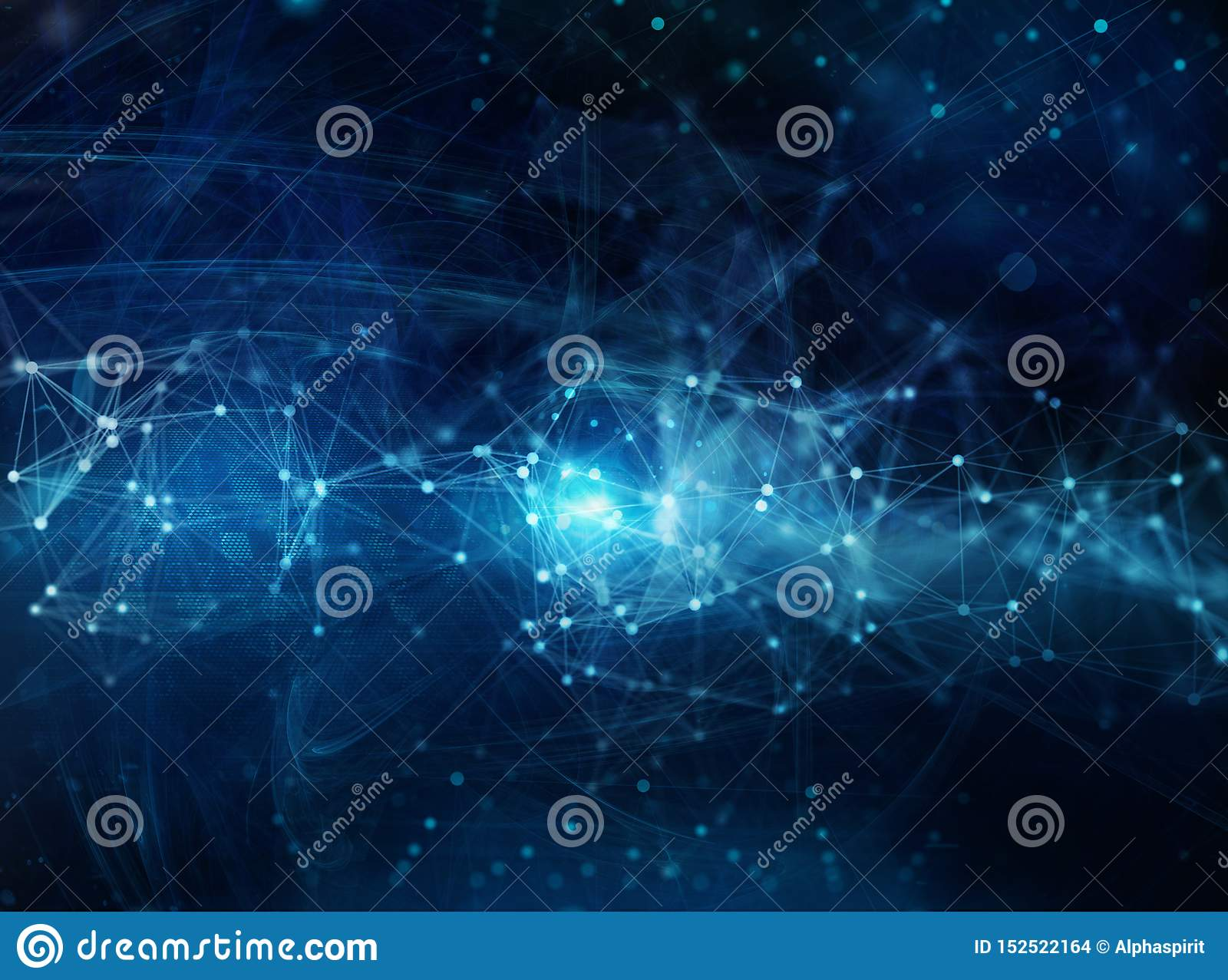 Futuristic abstract internet background with network effects.