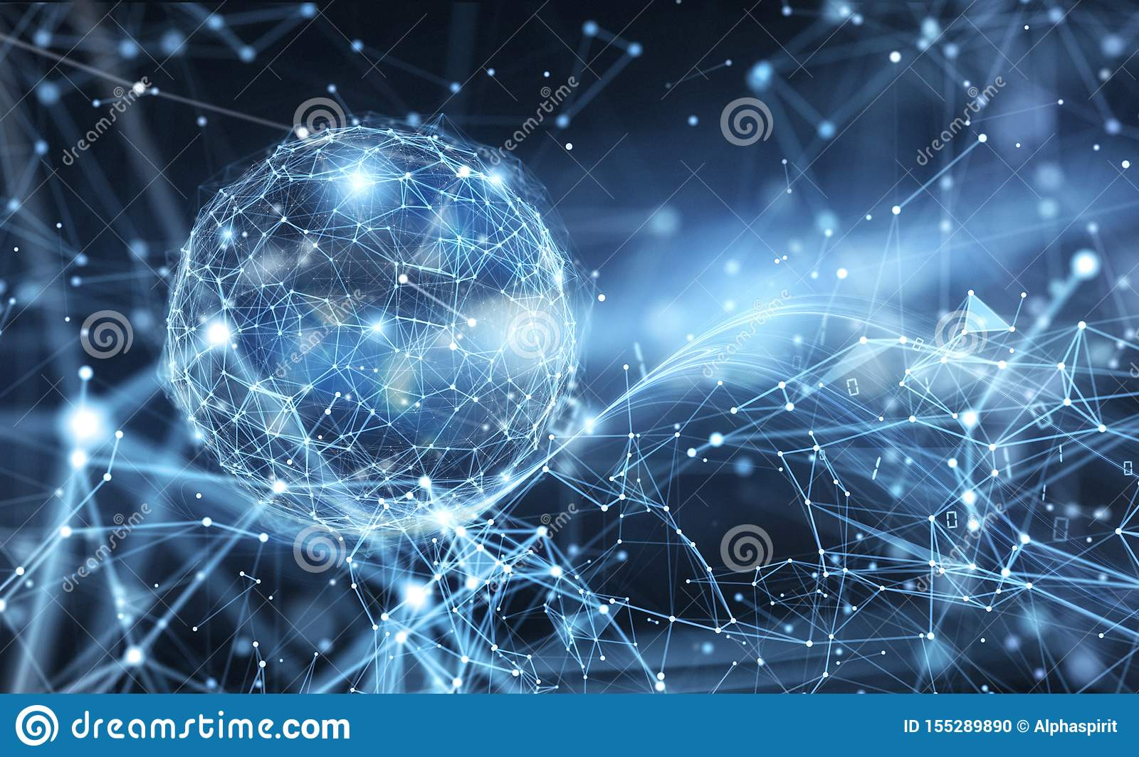 Abstract internet connection network globe background with motion effects.