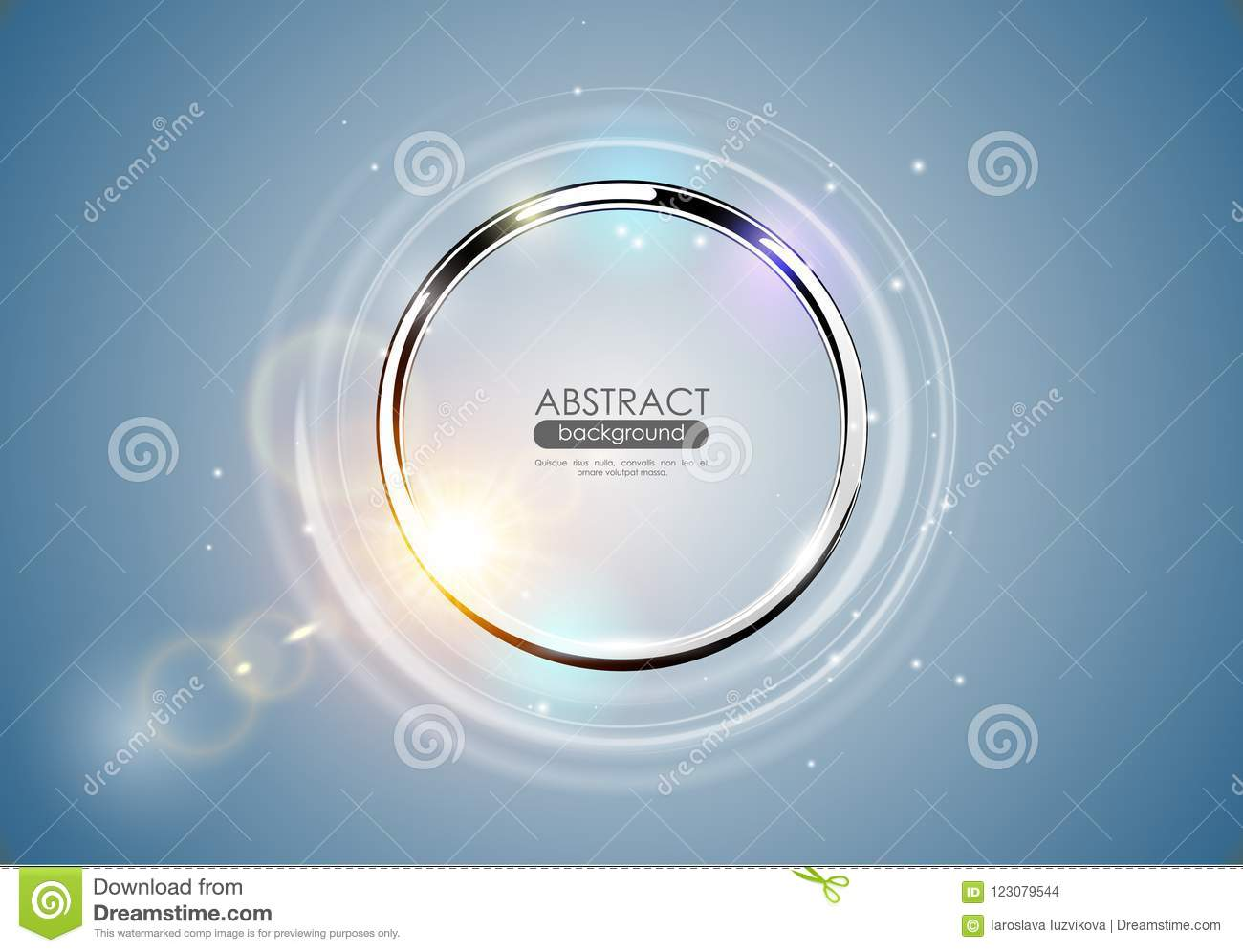 Futuristic abstract metal ring blue background. Chrome shine round frame with light circle and sun lens flare light effect. Vector