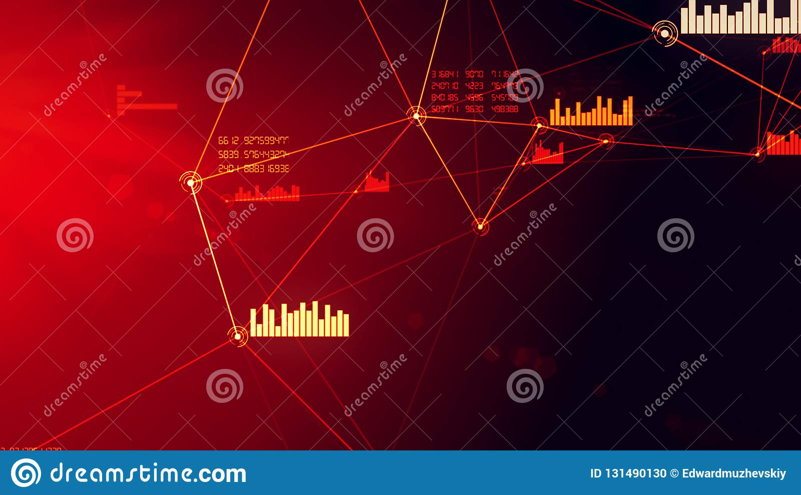 Futuristic abstract red network and data connection grid illustration