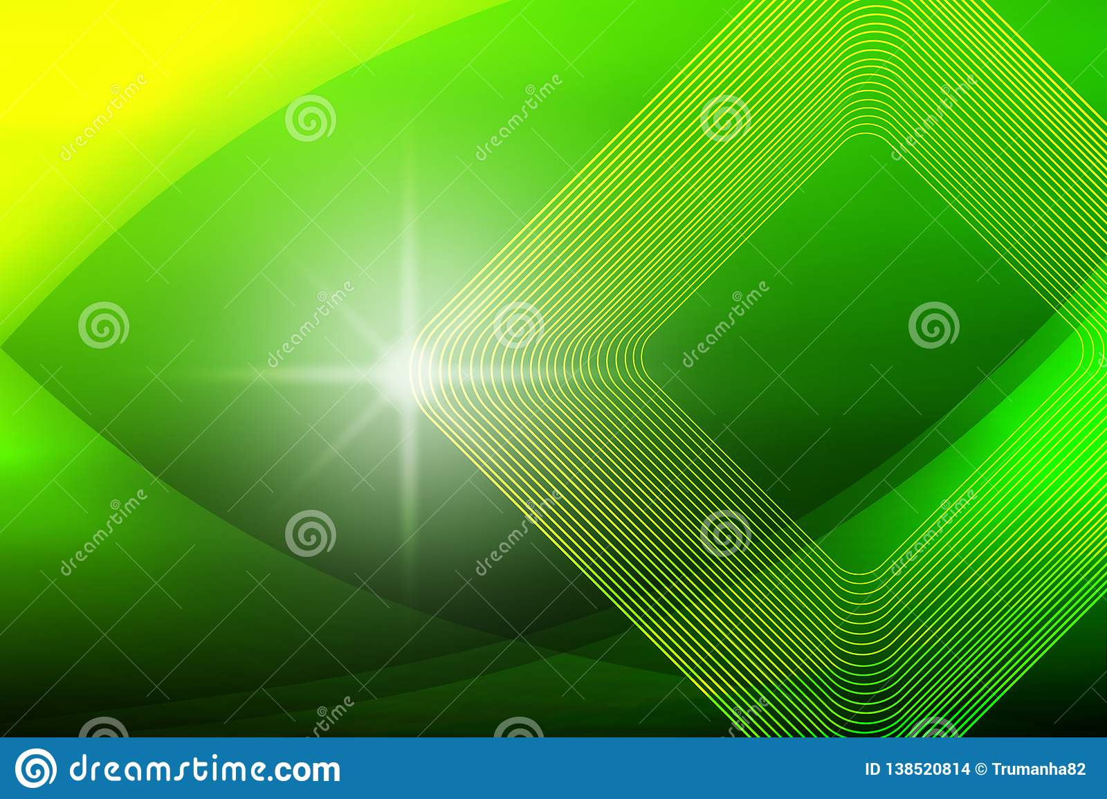 Shiny Sparkle, Square Shapes and Curves in Blurred Green and Yellow Background