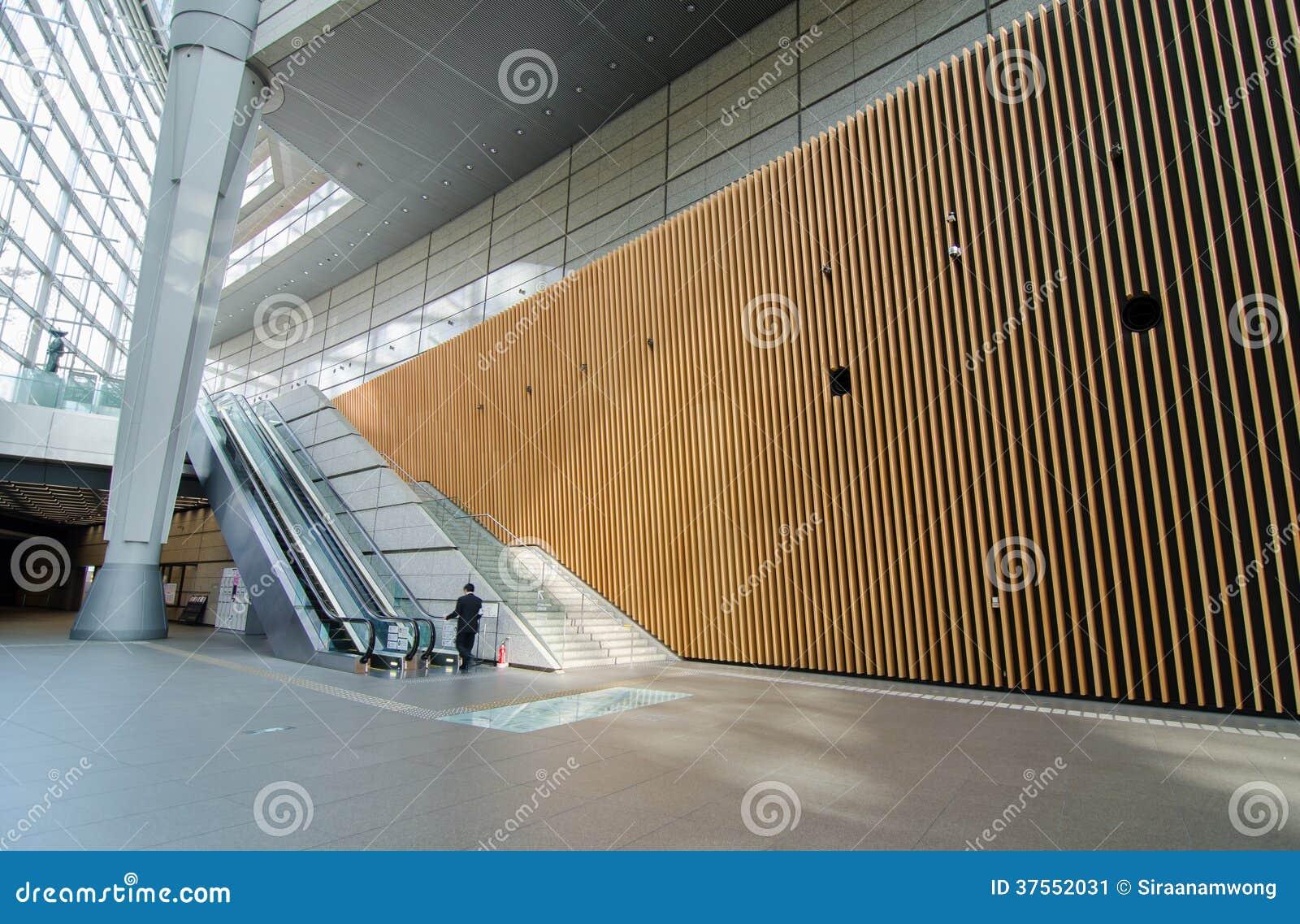 futuristic architecture interior of tokyo international forum