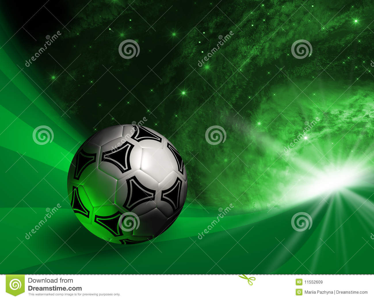 Futuristic background with soccer ball