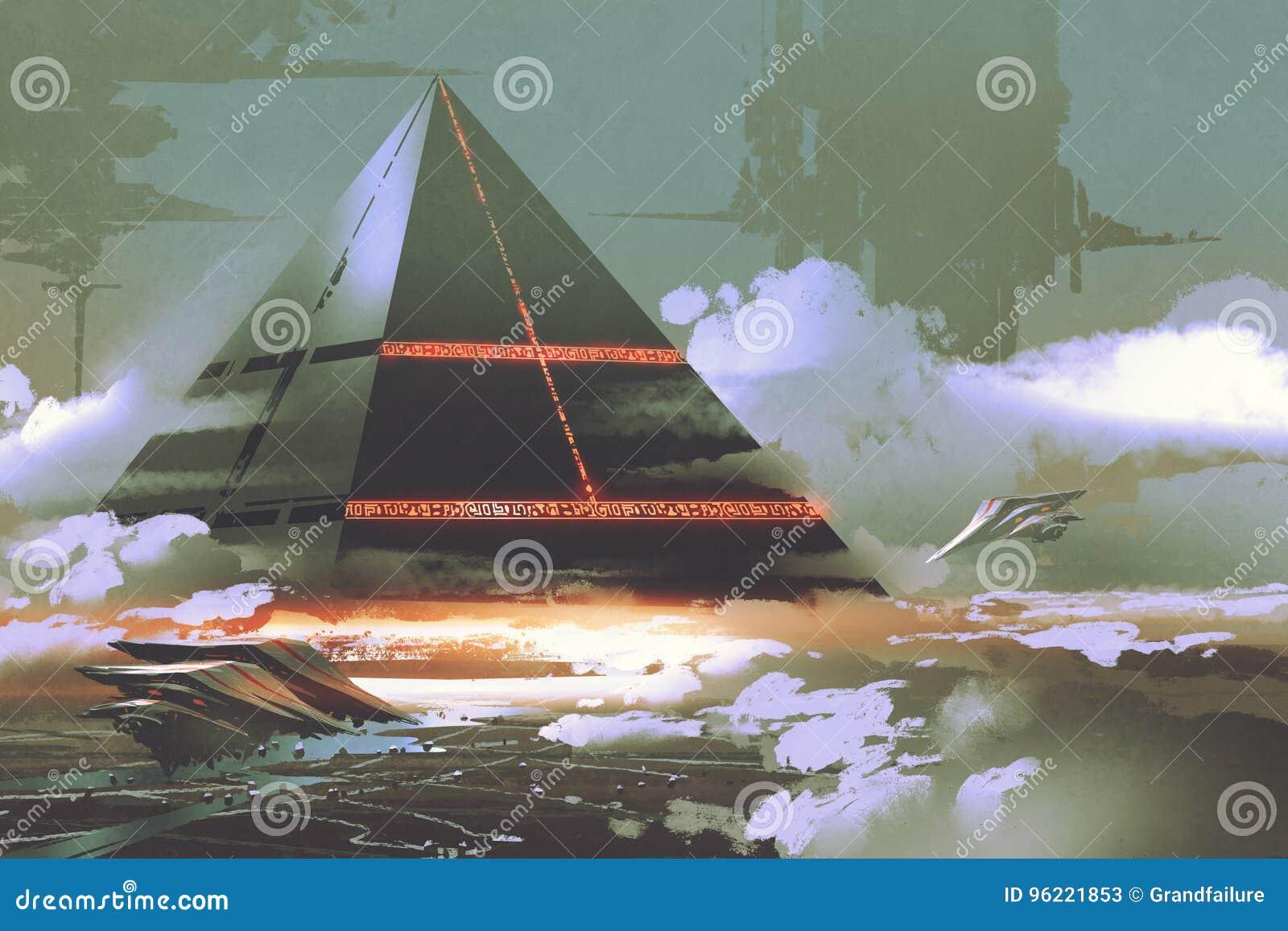 Futuristic black pyramid floating over earth surface