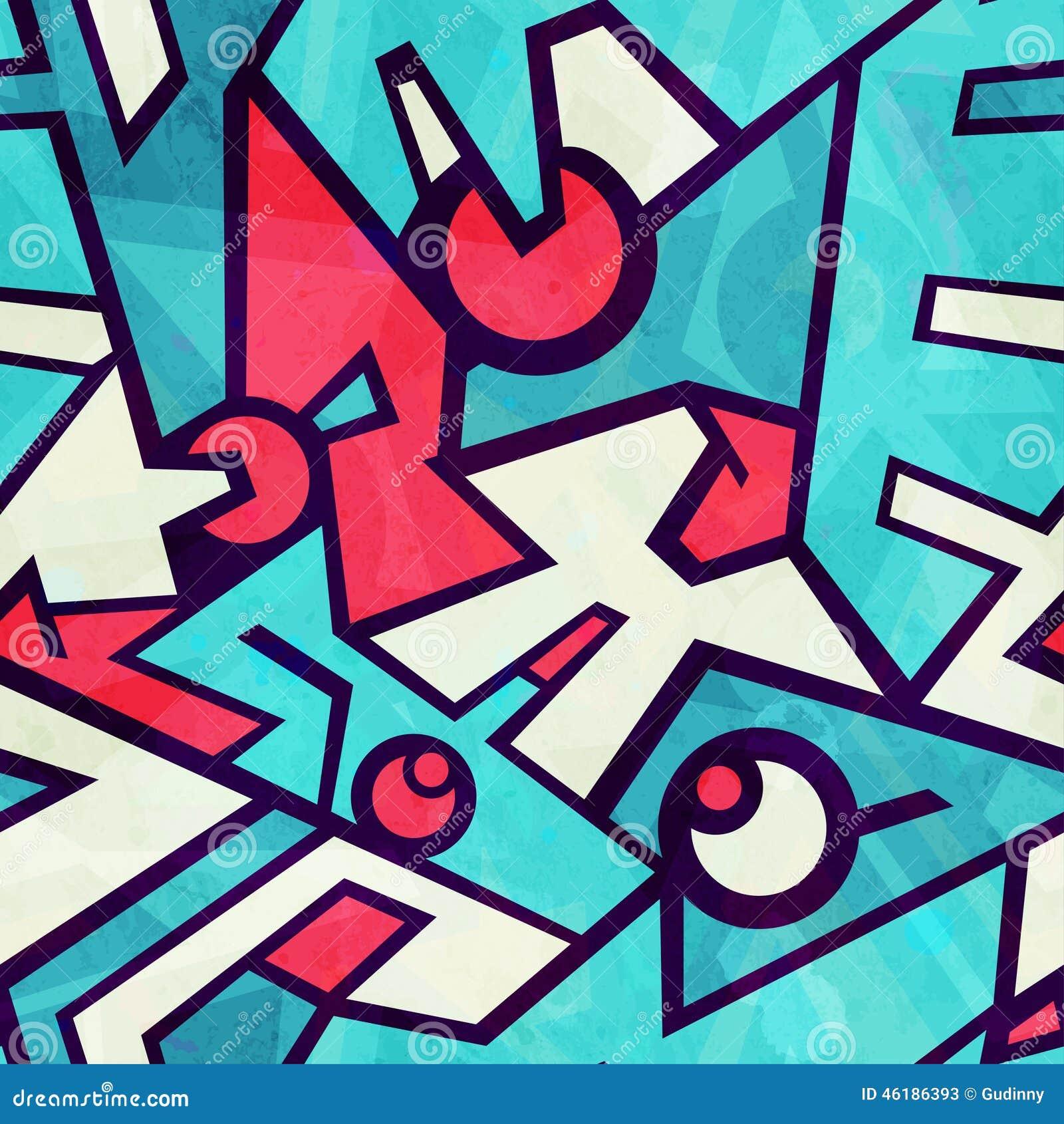 Futuristic blue seamless pattern with grunge effect