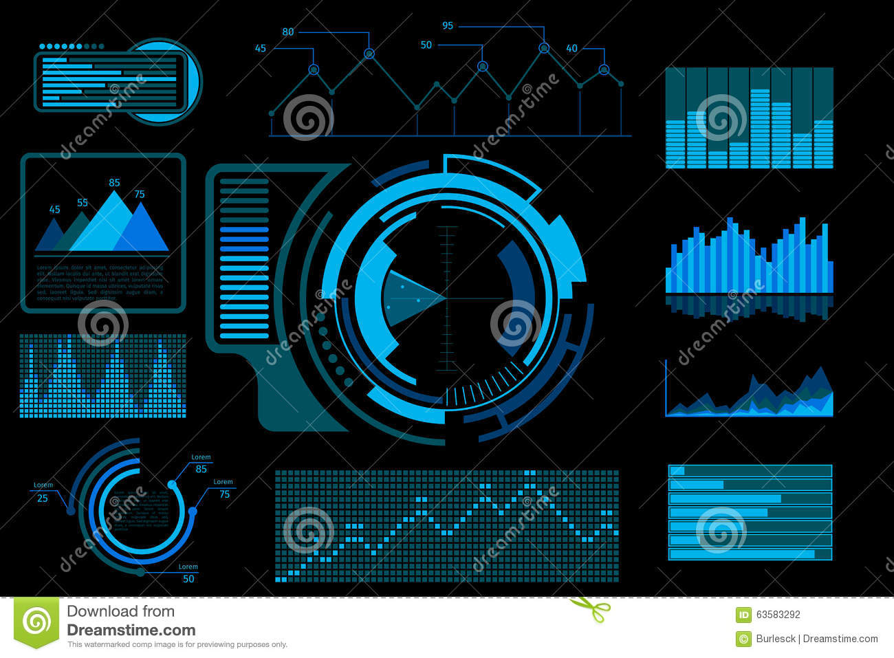 Design Space Software Download Futuristic Blue Vector Touch User Interface Stock Vector
