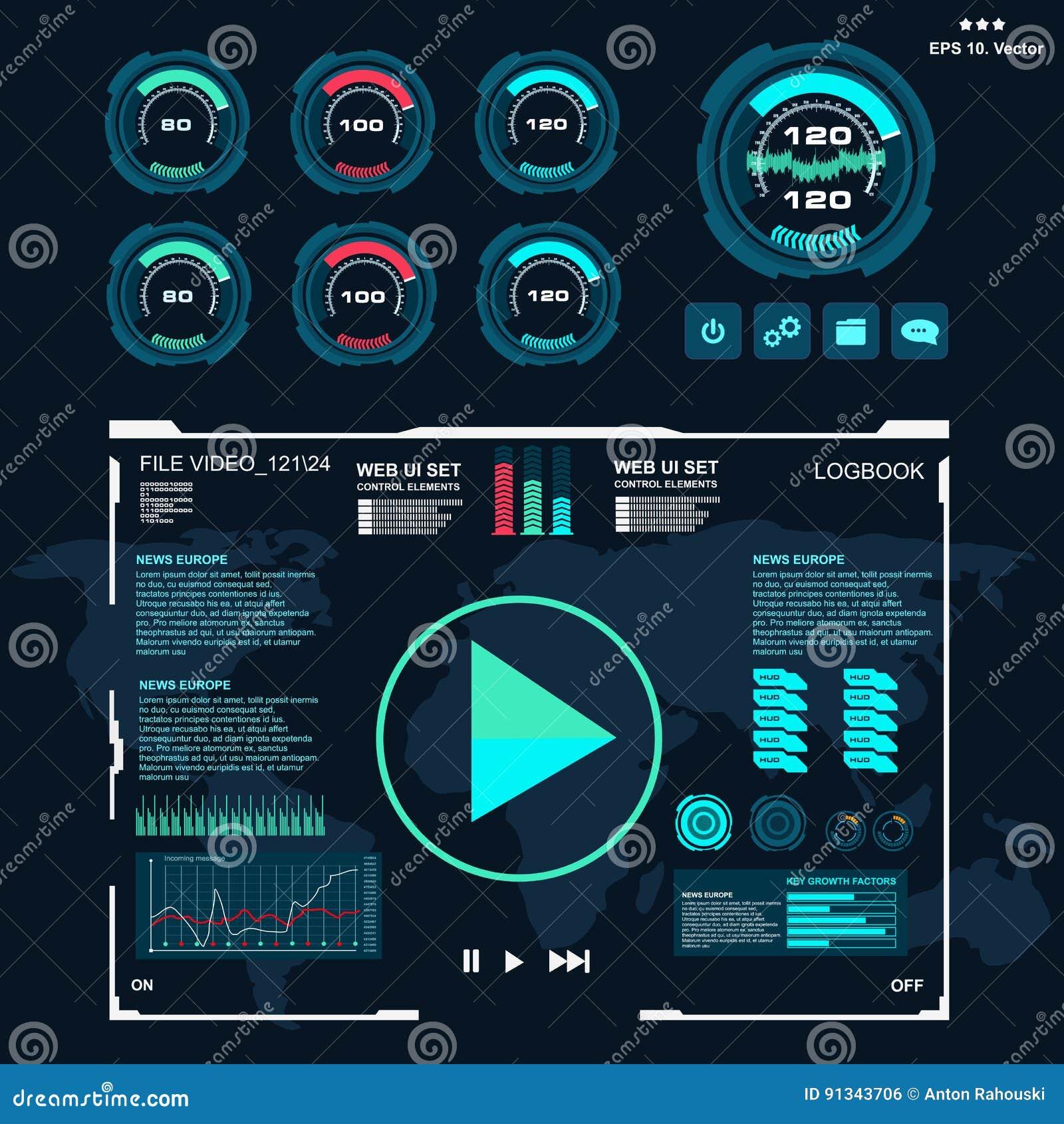 Futuristic Blue Virtual Graphic Touch User Interface, Music