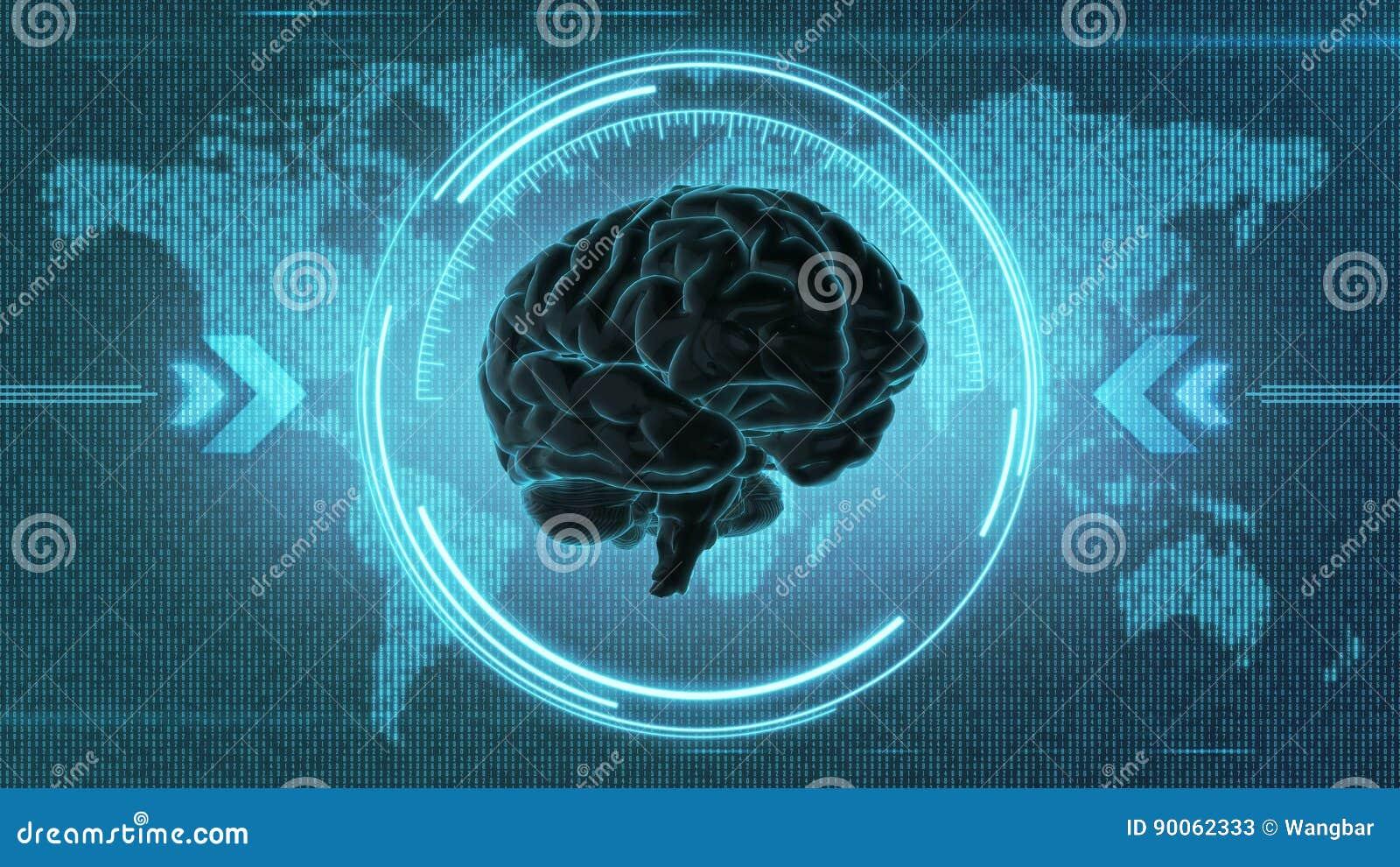 Futuristic brain HUD display