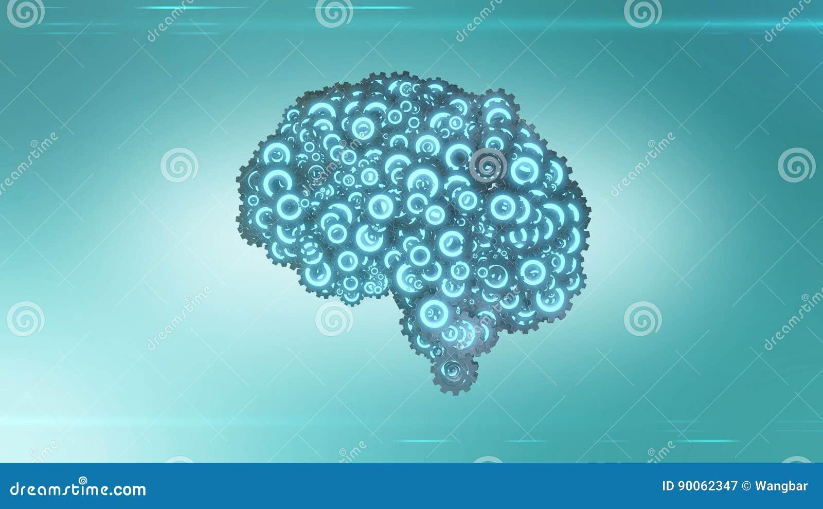 Futuristic brain steampunk concept