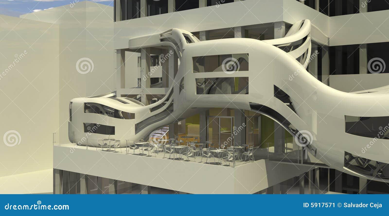 Futuristic cafe restaurant