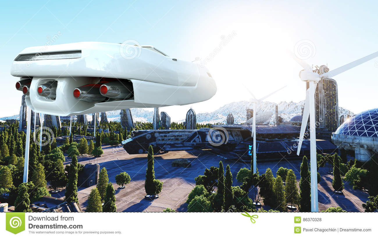 Futuristic car flying over the city, town. Transport of the future. Aerial view. 3d rendering.