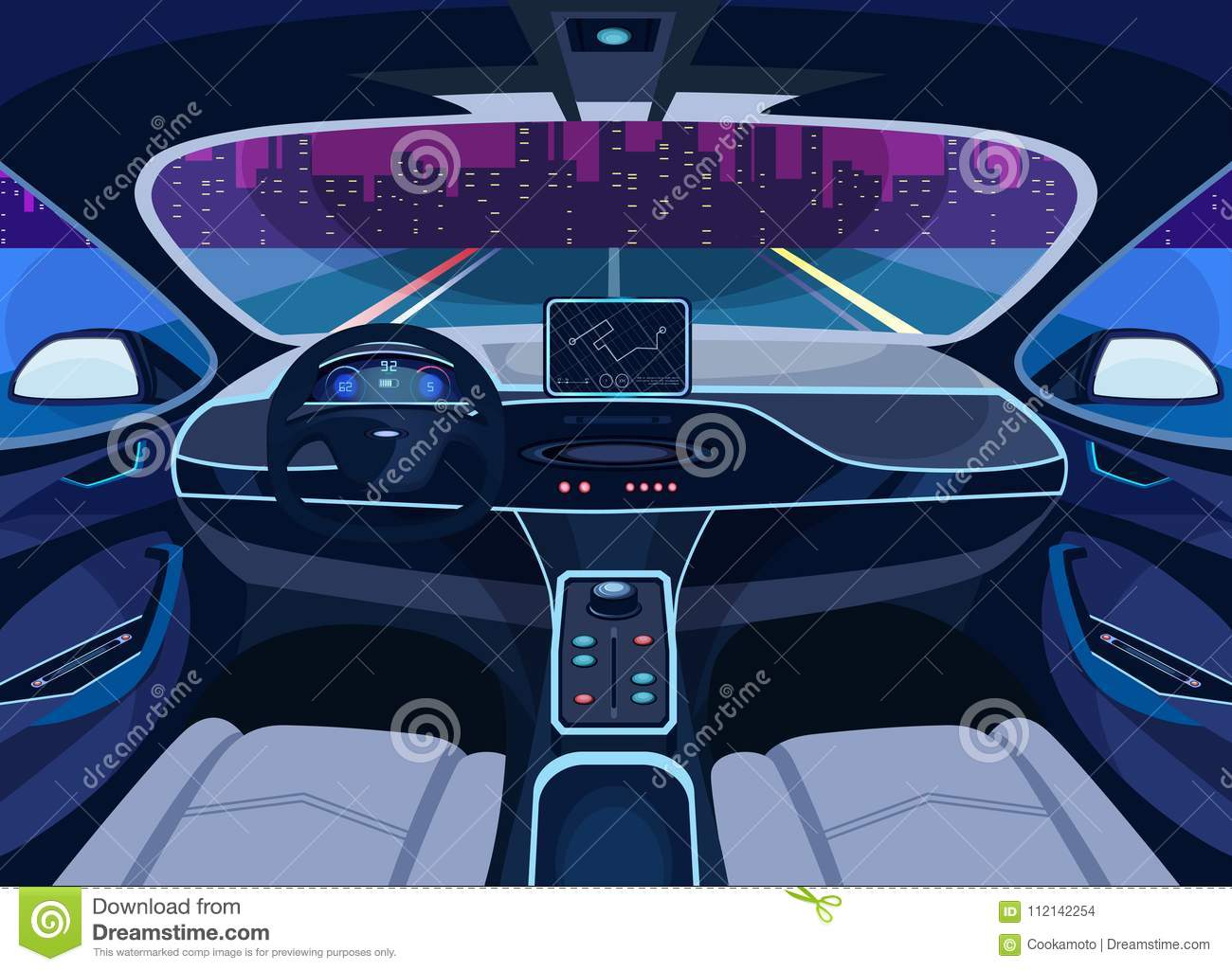 Futuristic car salon with GPS, autopilot vehicle