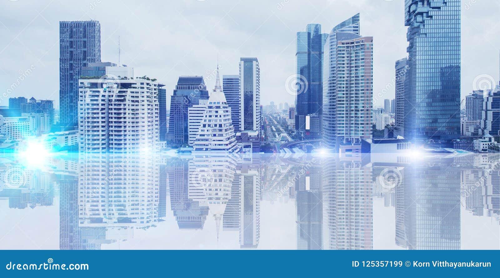 Futuristic city metro urban wide panorama banner