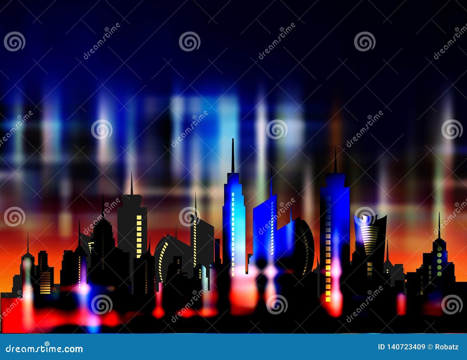 Futuristic city in neon lights. Retro Style 80s. Energy concept. Creative idea. Design background, colorful Night City Skyline