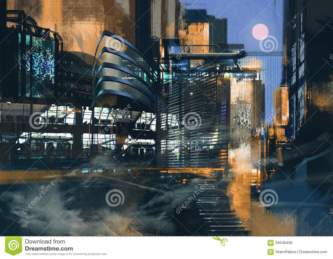 Futuristic city painting