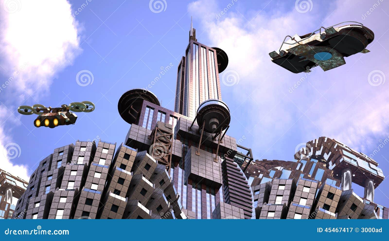 Futuristic city with surveillance drones