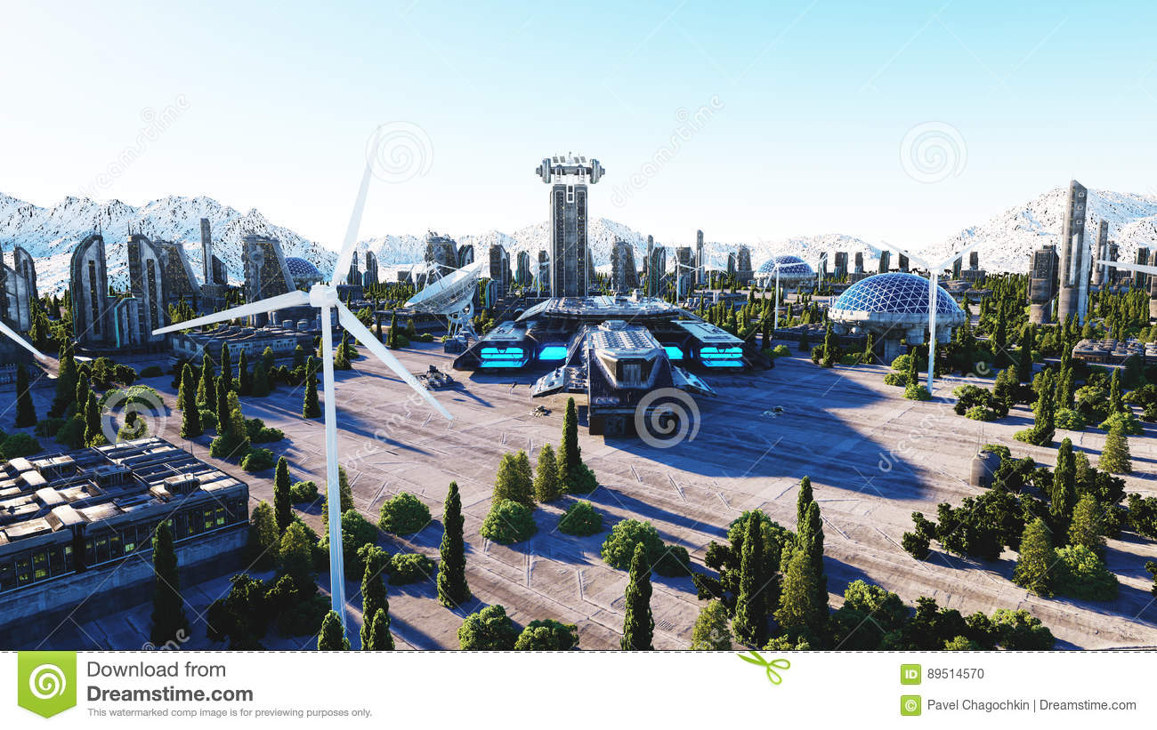 Futuristic city, town. Architecture of the future. Aerial view. 3d rendering.