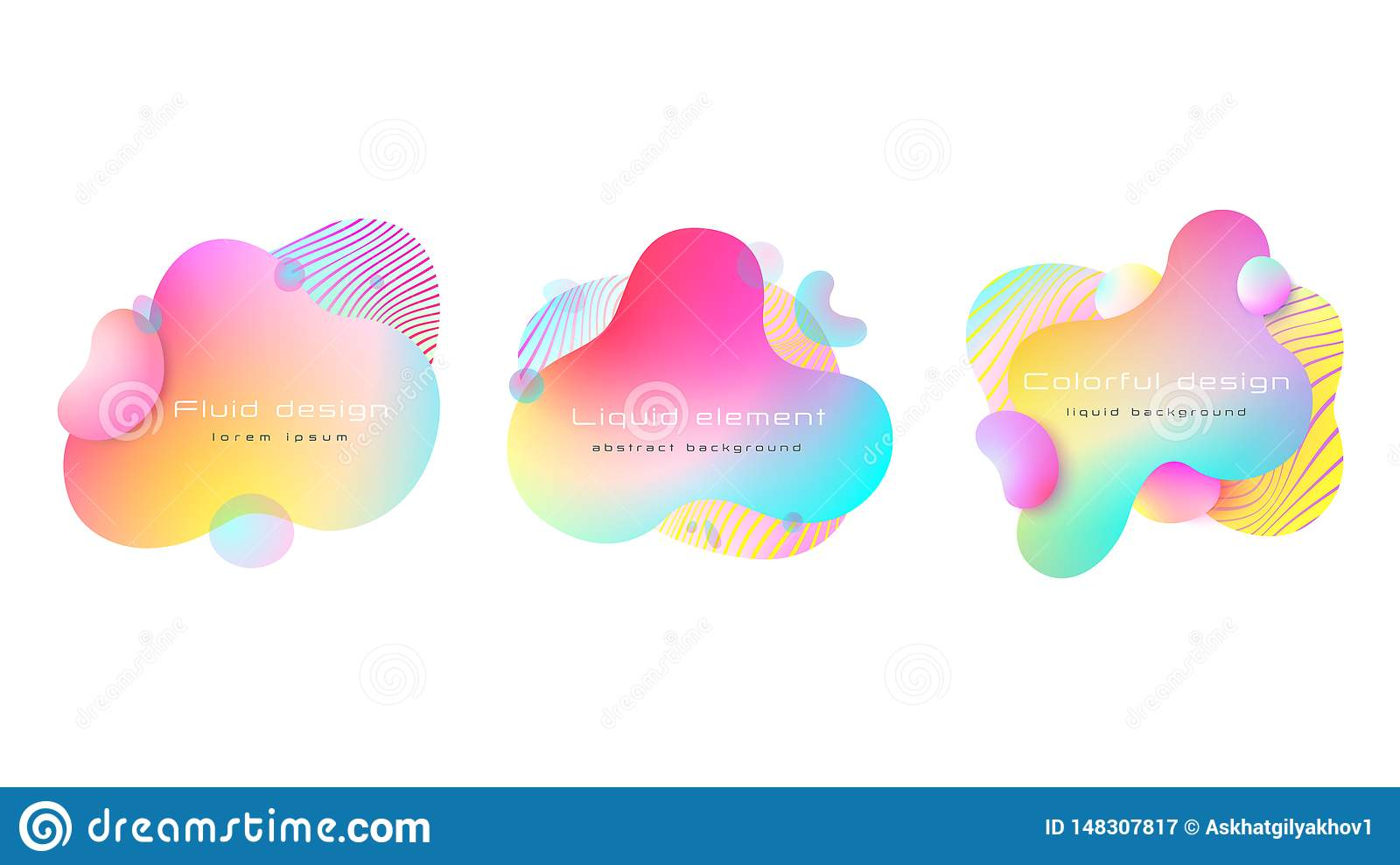 Futuristic colorful abstract liquid element set. Dynamical colored forms and line. Abstract background. Vector, EPS 10.