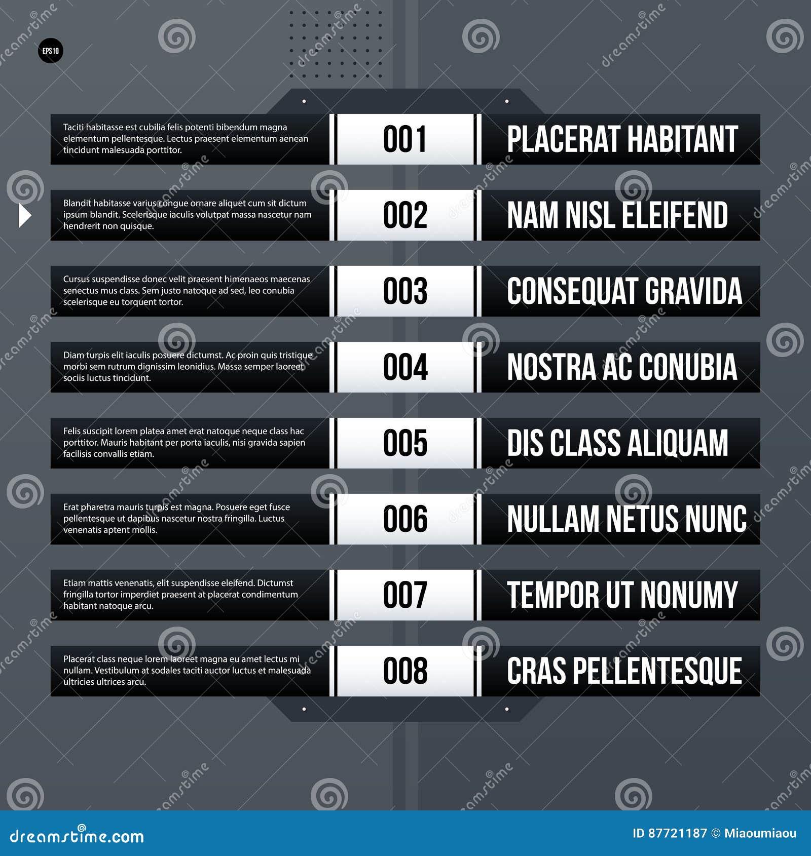 futuristic corporate menu list template on gray background stock