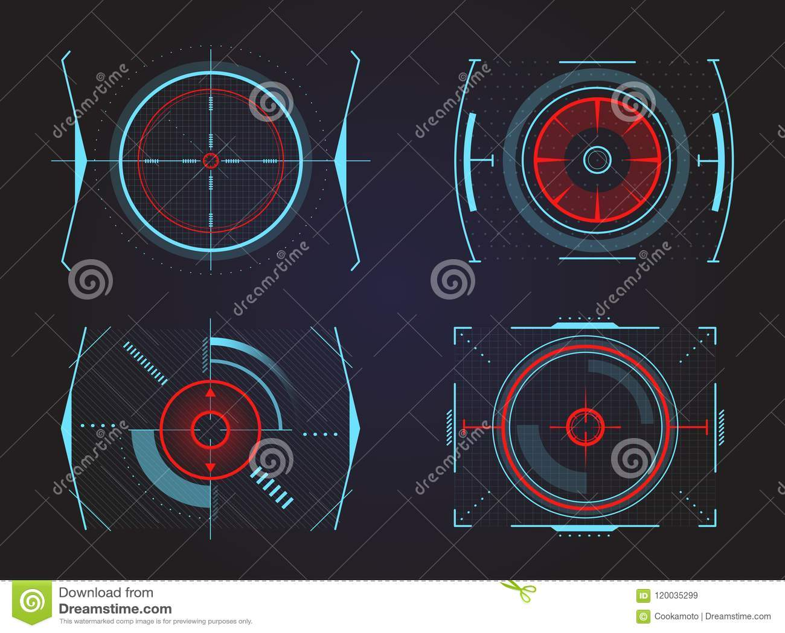 Futuristic Crosshair Or Aim, Radar Or Location Stock Vector