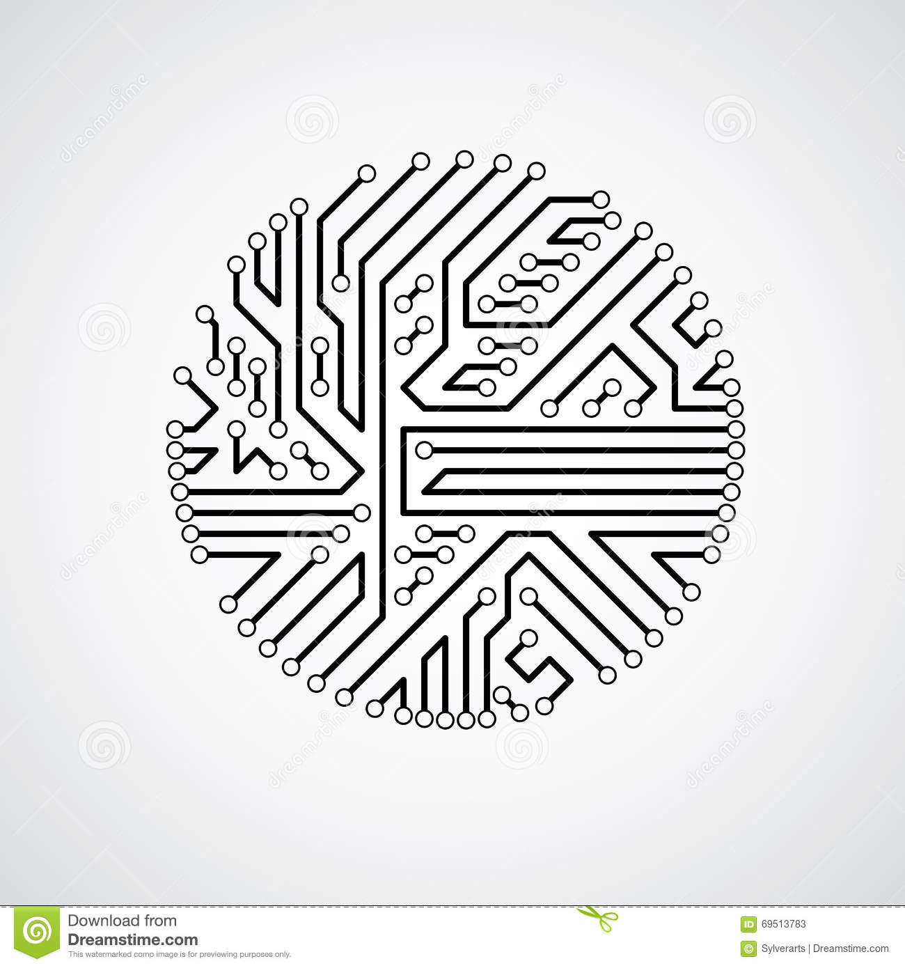 futuristic cybernetic scheme  vector motherboard black and white stock vector