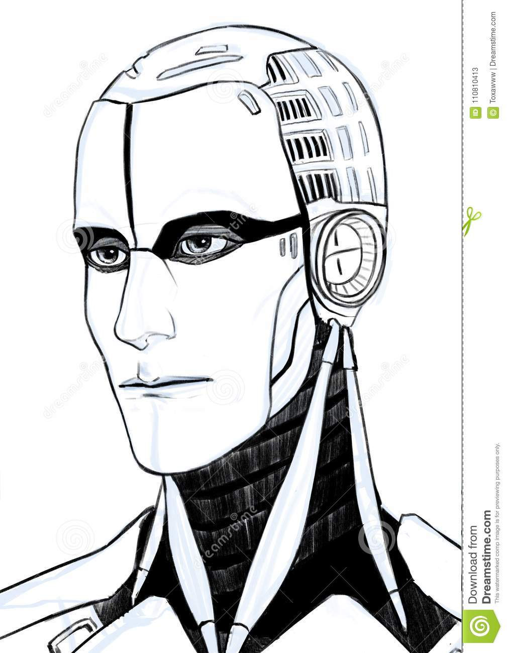 Futuristic cyborg illustration portrait isolated at white background