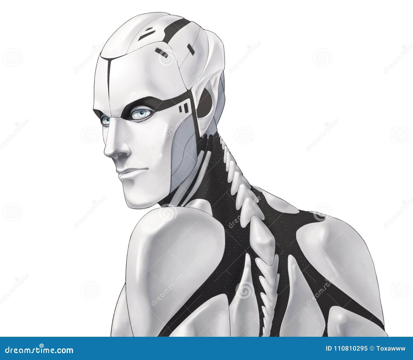 Futuristic cyborg illustration portrait isolated on white background