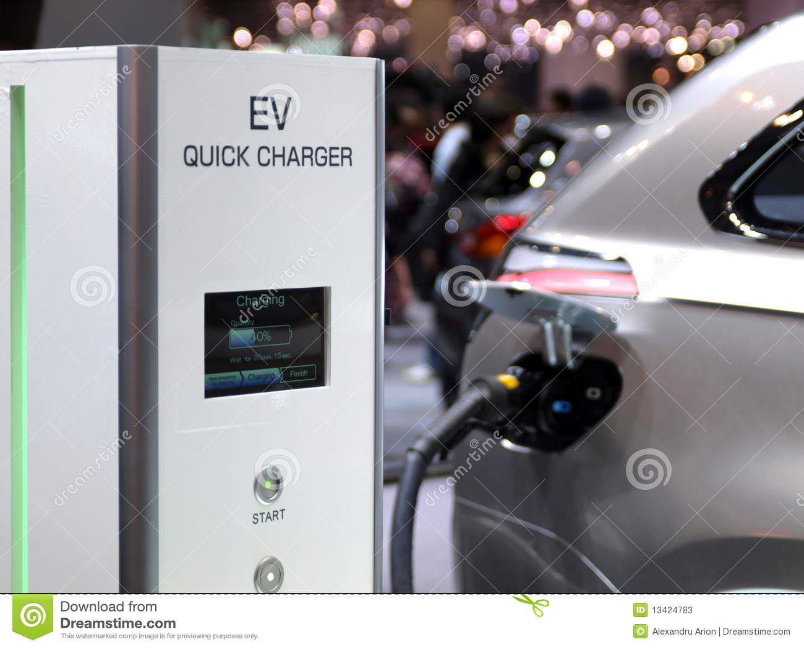 Futuristic electric concept car charging