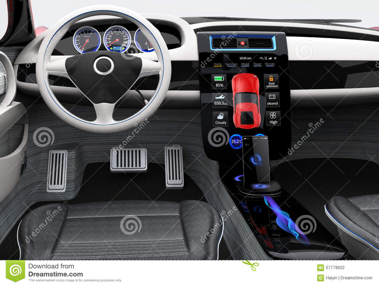 Futuristic electric vehicle dashboard and interior design for Dash designs car interior shop