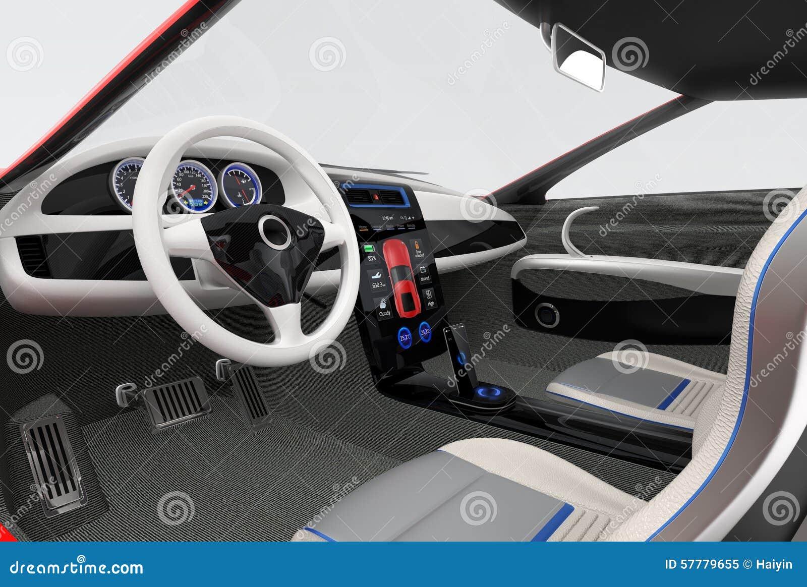 Futuristic Electric Vehicle Dashboard And Interior Design Stock