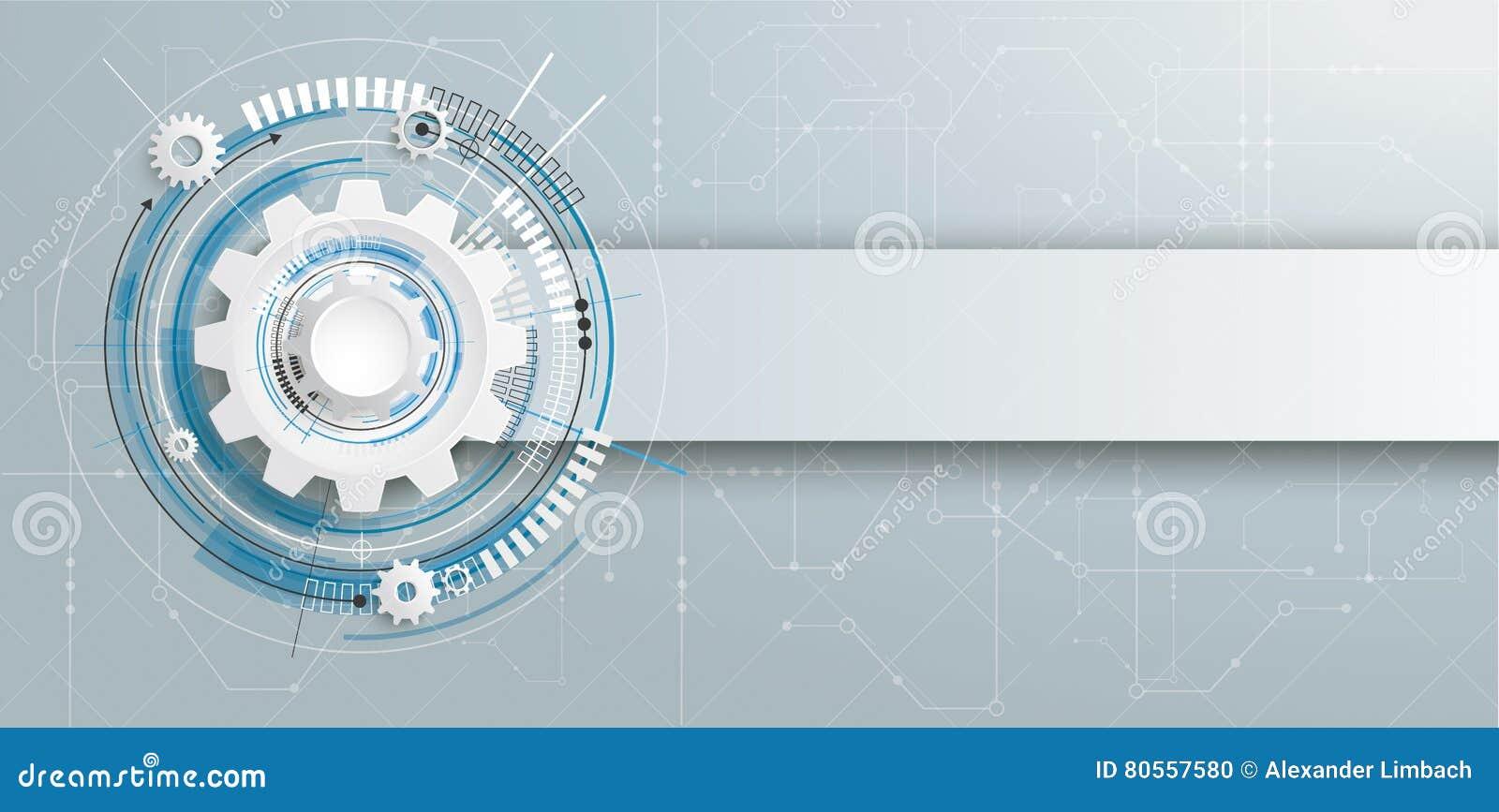 Futuristic Gear Construction Circuit Board Banner Stock