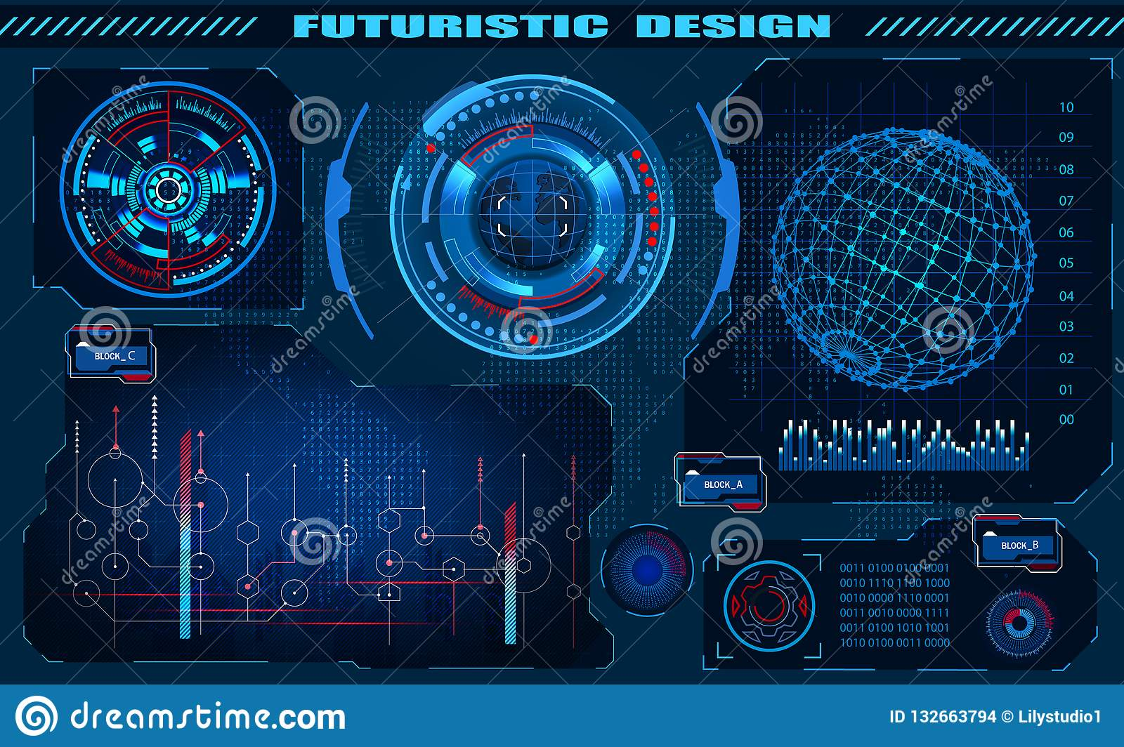Futuristic graphic interface hud design, infographic elements, hologram of the globe. Theme and science, the theme of