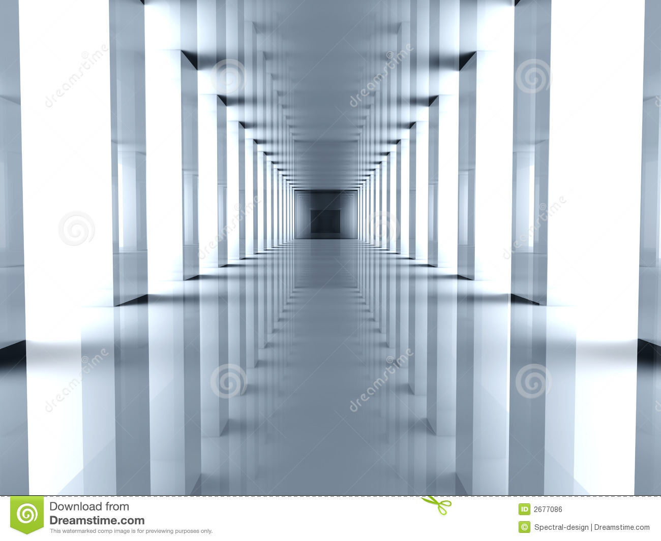 Long Foyer Xl : Futuristic hallway royalty free stock image