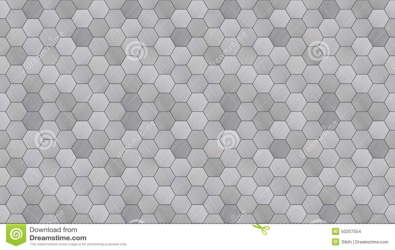 Futuristic Hexagonal Aluminum Tiled Seamless Texture Stock