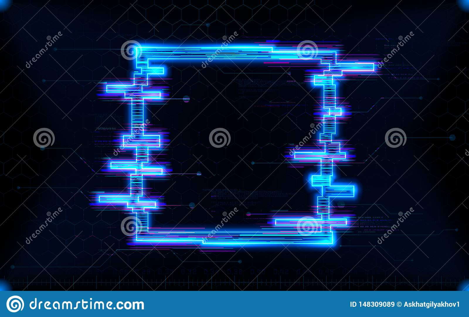 Futuristic hologram HUD square shape with neon glowing